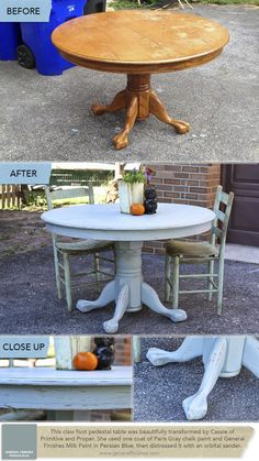 Cassie of @Cassandra Guild Bustamante (Primitive & Proper) transformed this claw foot pedestal table with one coat of Paris Gray chalk paint and our new General Finishes Milk Paint color in Persian Blue, then distressed it with an orbital sander. Beautiful work, Cassie! General Finishes products are available in stores across America, Canada, and the UK, including Rockler and Woodcraft stores.