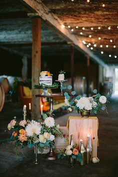Wedding Dessert Display with Lush Floral Arrangements | Danaea Li Photography and A Day to Remember Events | Romantic Vintage Botanical Wedding Shoot at a Rustic Winery