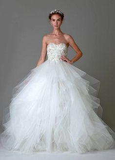 Graceful ballgown Marchesa wedding dress