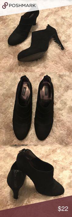 Tahari suede leather ankle bootie heels. Tahari suede leather ankle bootie heels.  8.5M. Like brand new. Tahari Shoes Ankle Boots & Booties