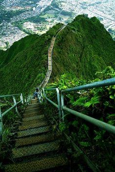 Hawaii, Stairway to Heaven, Haiku Stairs, Valley of Haiku near Kaneohe, Oahu, Hawaii.