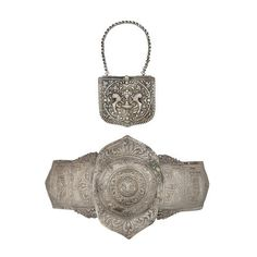 A Greek Or Balkan Cartridge Box (Palaskes), And A Large Greek Silver Belt Buckle (Porppes) (2)