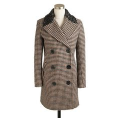 Captain coat in jeweled houndstooth from J. Crew. I would love to make a bejeweled one myself. Just need to find a vintage coat.