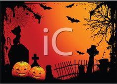 Halloween Cemetery Scene - Headstones, Jack O Lanterns and Bats in a Graveyard