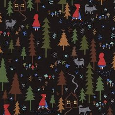 Fabric... Red Riding Hood Senic on Black by Timeless Treasures