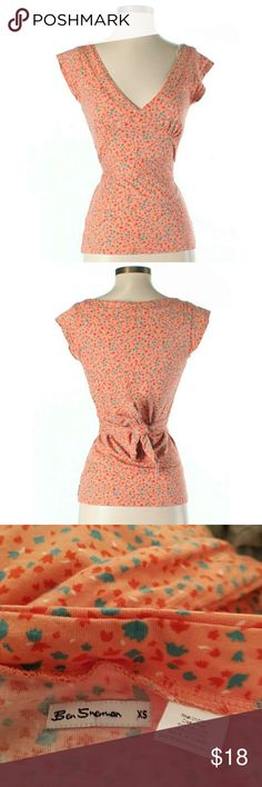 """Ben Sherman Orange V-Neck Short Sleeve Top Ben Sherman Orange and Green V-Neckline, Short sleeve, Floral & Bird Print, Tie Back. From Nordstrom. Retro cool. pink, coral, turquoise, green. Capped sleeves.    32"""" Chest, 22"""" Length   51% Viscose, 49% Cotton   Condition This item is in excellent condition. You might mistake it for brand new! Ben Sherman Tops"""