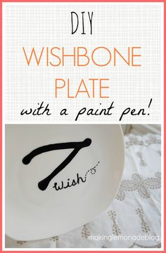 DIY Wishbone Plate {Thanksgiving Decor Ideas} Maybe with some of that metallic gold paint in there.