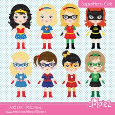 SUPERHERO GIRLS 1 clipart set : 14 Graphics    .....:::D E T A I L S:::.....    • Graphics as shown  • Saved in PNG format (with transparent backgrounds)