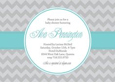 Ava Modern Chevron Birthday Surprise Party Wedding or Bridal Baby Shower Invitation Gray Tiffany Blue DIY Printable Invite Design or I Print. $20.00, via Etsy.