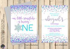 Our Little Snowflake, Purple Blue Silver Winter ONEderland Invitation, Wonderland Invite, ONE, First 1st Birthday, Confetti Glitter, DIGITAL by SquishyDesignsbyMe on Etsy