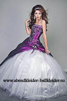 Faschings Kleid Abend - Ballkleid Online in Lila Weiss