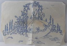 Crinoline Lady - Vintage Iron-on Embroidery Transfer by TheVintageSewingB on…