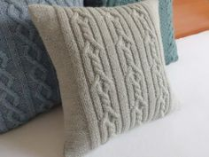 Cable knit cushion cover silver gray hand knit by Adorablewares, $36.00