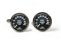 FUEL GAUGE - Glass Picture Cufflinks - Silver Plated (Art Print Photo Z22) by RosettaLondon on Etsy