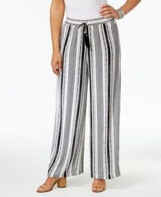 Ny Collection Petite Striped Pull-On Palazzo Pants - Black P/XL