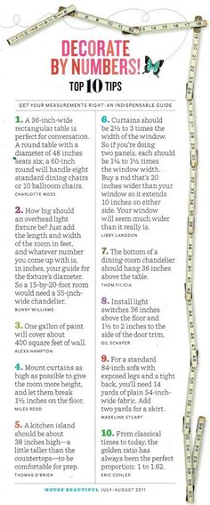 10 Must Know Measurements For Decorating Your Home - how to decorate your home using techniques from professionals to make your home beautiful and organized and welcoming - how to set up your home for an open house - basics when buying your first home or selling your last one - how to measure what light to get or how much paint to buy or what size table to use - cheat sheet for new home owners