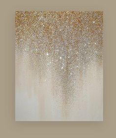"Glitter Art Painting Acrylic Abstract Original Art on Canvas by Ora Birenbaum Beach Shabby Chic Titled: Shimmer 4 24x30x1.5"""