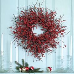 I've always wanted a big red-berry wreath for my front door. Guess I'm going to have to make one! Super easy instructions.