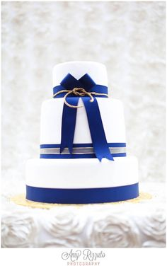 Nautical Wedding Cake-NYC YACHT WEDDING : HORNBLOWER'S SIP SWAY + BRIDAL PLAY » Amy Rizzuto Photography