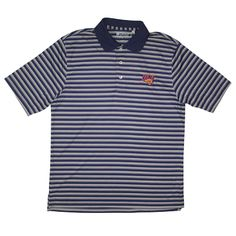 Gear men's polo with thick purple/gray stripes and thin white stripes. $51.99