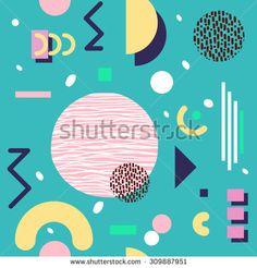 Seamless geometric pattern in retro 80s style, memphis - stock vector