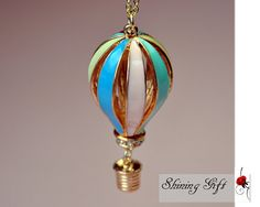 Hot Air Balloon Necklace Pendant of color Hot Air by Shininggift, $5.99
