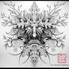 Image result for oak king green man design line drawing