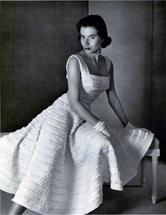 white toile dress in bands of croquet by Jeanne Lafaurie, 1950