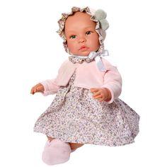 Asi Leonora dukke m. blomstret tøj lyserød