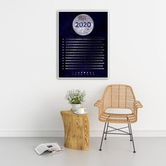 This beautifully designed moon phases calendar lets you see in a glance when the next full moon, new moon, etc. will fall during the 2020 year. The celestial design is printed in rich vivid colors that will add a great visual element to your home or office decor. Moon Calendars make wonderful gifts and because they ship rolled in a tube they make the perfect stocking stuffer!  #moonphases #moon #mooncalendar #2020moonphases #2020mooncalendar #calendar #posterprints #moonposter…