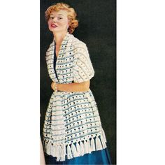 Vintage Crochet Shawl Pattern -   A lace pattern stitch, extra long with tassel ends.