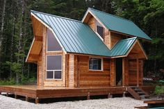 small cabin kits and tiny house kits with the best image and Unique Log Cabin Plans Prefab Cabins, Tiny Cabins, Tiny House Cabin, Log Cabin Homes, Cabins And Cottages, Tiny House Living, Tiny House Plans, Prefab Homes, Tiny House On Wheels