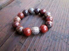 Poppy Jasper & Sterling Silver Bracelet Bold by amariesshop