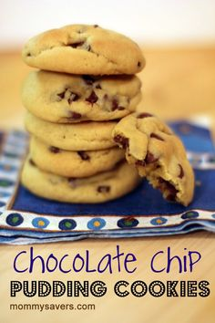 chocolate chip pudding cookies  2 1/4 C. all-purpose flour   1 tsp. baking soda   1 C. margarine or butter, softened   3/4 C. brown sugar   1/4 C. white sugar   1 3.4-oz. package instant vanilla pudding   1 tsp. vanilla extract   2 eggs, room temperature   2 C. chocolate chips  Bake at 375 degrees for 8-10 minutes.