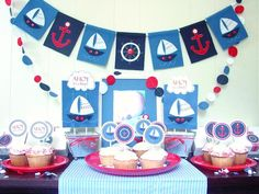 Nautical baby shower decor @Lisa Phillips-Barton - this could be a cute photo booth back drop for the kiddos!