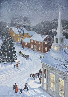 """Snowfall in the Village"" by Charlotte Joan Sternberg, American painter, Christmas Town, Old Fashioned Christmas, Christmas Scenes, Retro Christmas, Vintage Christmas Cards, Vintage Holiday, Christmas Pictures, Winter Christmas, Illustration Noel"