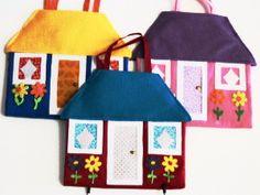 handmade, cloth, quiet book, doll house book, travel toy, doll clothes, felt doll,. $49.95, via Etsy.