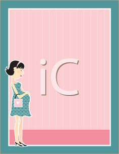 iCLIPART - Royalty Free Clipart Image of a Frame With a Pregnant Woman in the Bottom Corner