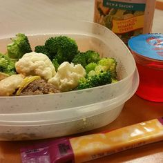 There's a potluck at work today but I still brought my own lunch in just in case there wasn't anything keto friendly. I'll still go but this way I won't be overly hungry eating things I shouldn't  Broccoli cauliflower marble cheese and a leftover hamburger patty topped with hot mustard. Sugar free Strawberry jello for dessert  #keto #ketodiet #lowcarb #lowcarbhighfat #lowcarblifestyle #ketogenicdiet #ketosis by tialah29