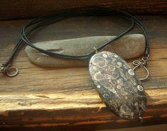 River rock leopard skin jasper natural stone pendant by kmaylward