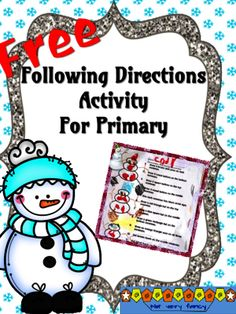 FREE following directions activity for primary -- snowmen from Notveryfancy on TeachersNotebook.com -  (3 pages)  - Students follow directions to create three unique snowmen.