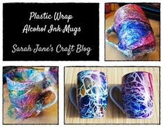Plastic wrap Alcohol Ink application on white ceramic mugs. Alcohol Ink Glass, Alcohol Ink Crafts, Alcohol Ink Painting, Alcohol Inks, Starbucks Ceramic Mug, Ceramic Mugs, Glue Art, Sewing To Sell, Painted Mugs