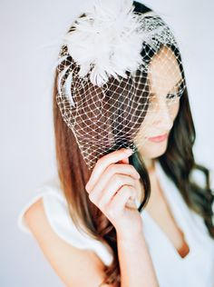 Birdcage veil with feathered accent over sleek, long hair. Bridal beauty. - Melissa Jill Photography
