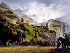 "Inspiration of Medieval Language & Literature: J. Tolkien, The Two Towers: ""The Riders of Rohan"" (art by Ted Nasmith) Aragorn, Gandalf, Legolas, Tolkien Books, Jrr Tolkien, Lotr, Alan Lee, John Howe, O Hobbit"
