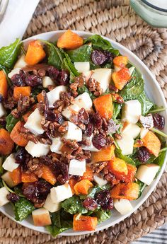 Sweet and Salty Fall Harvest Salad - Butternut Squash, Candied Pecans, Kale, Brie, Apple, Cranberries, and Maple Vinaigrette
