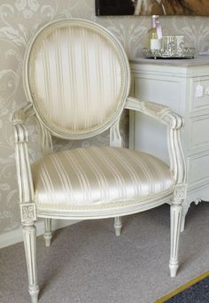 Louis Style Cream Occasional Chair