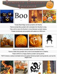 Carve, paint and decorate pumpkins with 16 printable carving stencils, pumpkin decorating how-tos and pumpkin embellishment tutorials!