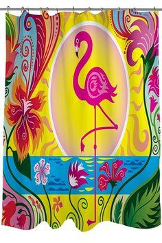 PETGOOD Duschvorhang Flamingo Blossom Sun Wasserdicht, Anti-Schimmel-Effekt 180 x 180 cm