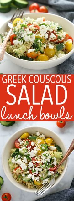 These Greek Couscous Salad Lunch Bowls are packed with veggies, making them a low-fat healthy choice for lunch at home or work! Perfect for meal prep! Lunch Recipes, Dinner Recipes, Cooking Recipes, Greek Couscous Salad, Coucous Salad, Healthy Snacks, Healthy Recipes, Clean Recipes, Eat Healthy