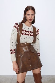 🥴👠😏👠🙄🤪 Faux Leather Skirt, Leather Mini Skirts, Zara Home Stores, Suspender Skirt, Zara United States, Suspenders, Autumn Winter Fashion, Winter Style, Leather